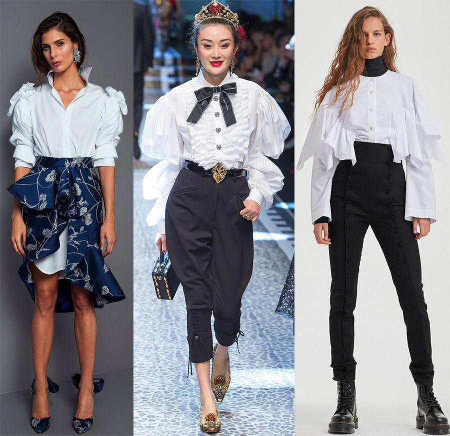 Стильные декорированные белые женские рубашки осень-зима 2018-2019