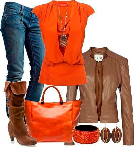 Модные сеты оранжевый осень-зима 2018-2019