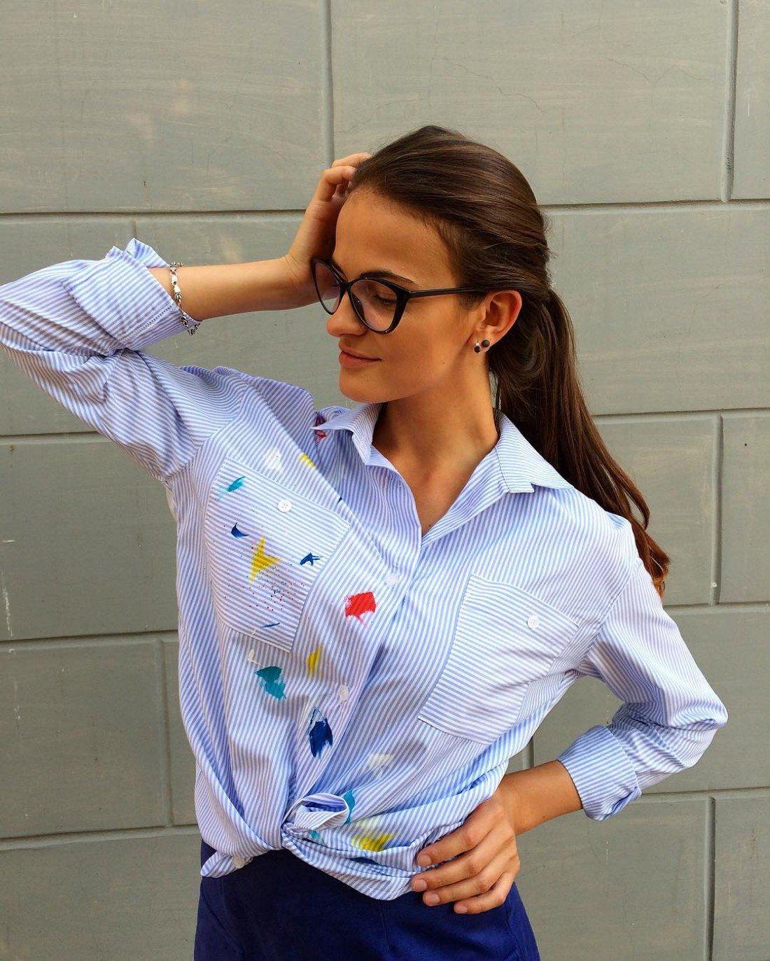 Полосатая жденская рубашка осень-зима 2018-2019