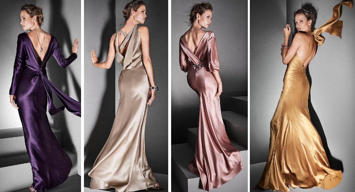 Атласные платья с глубоким вырезом на спине - идеальная находка для новогоднего корпоратива 2019