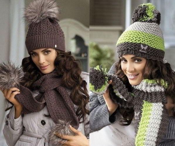Стильные комплекты: шапка и шарф