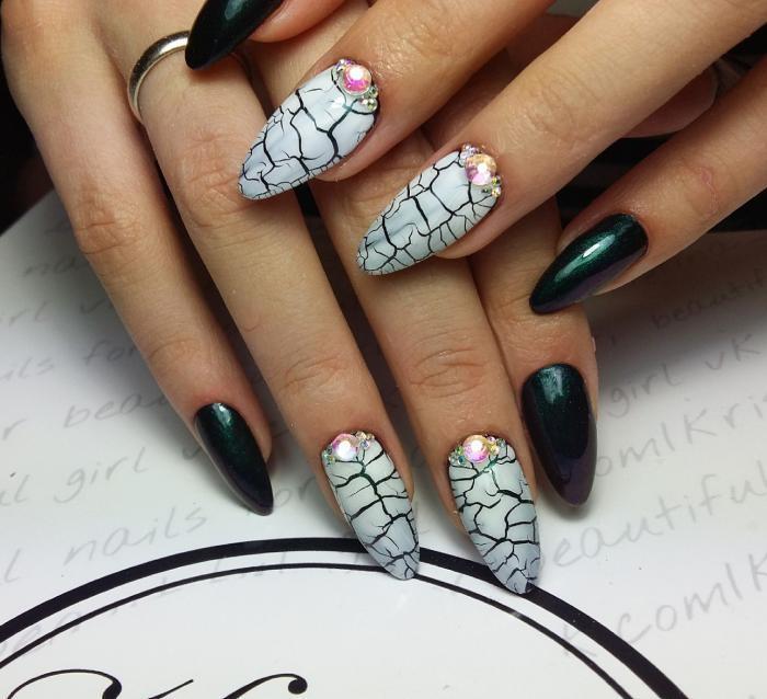 Модный маникюр на длинных ногтях 2018
