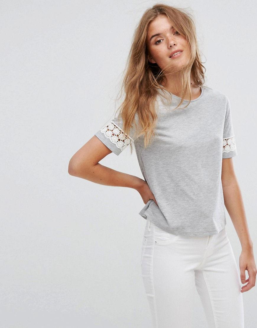 Модные женские футболки с кружевом осень-зима 2018-2019