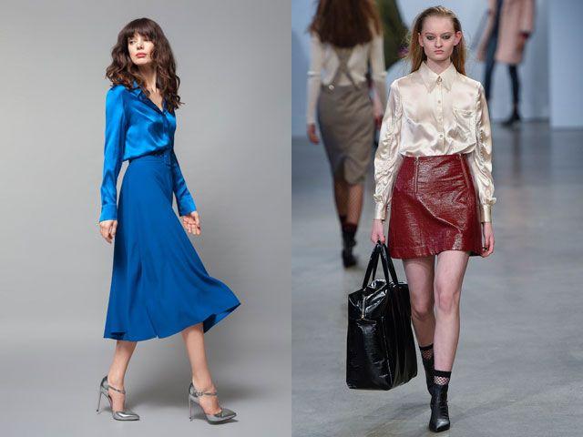Модные блузки из атласа осень-зима 2018-2019