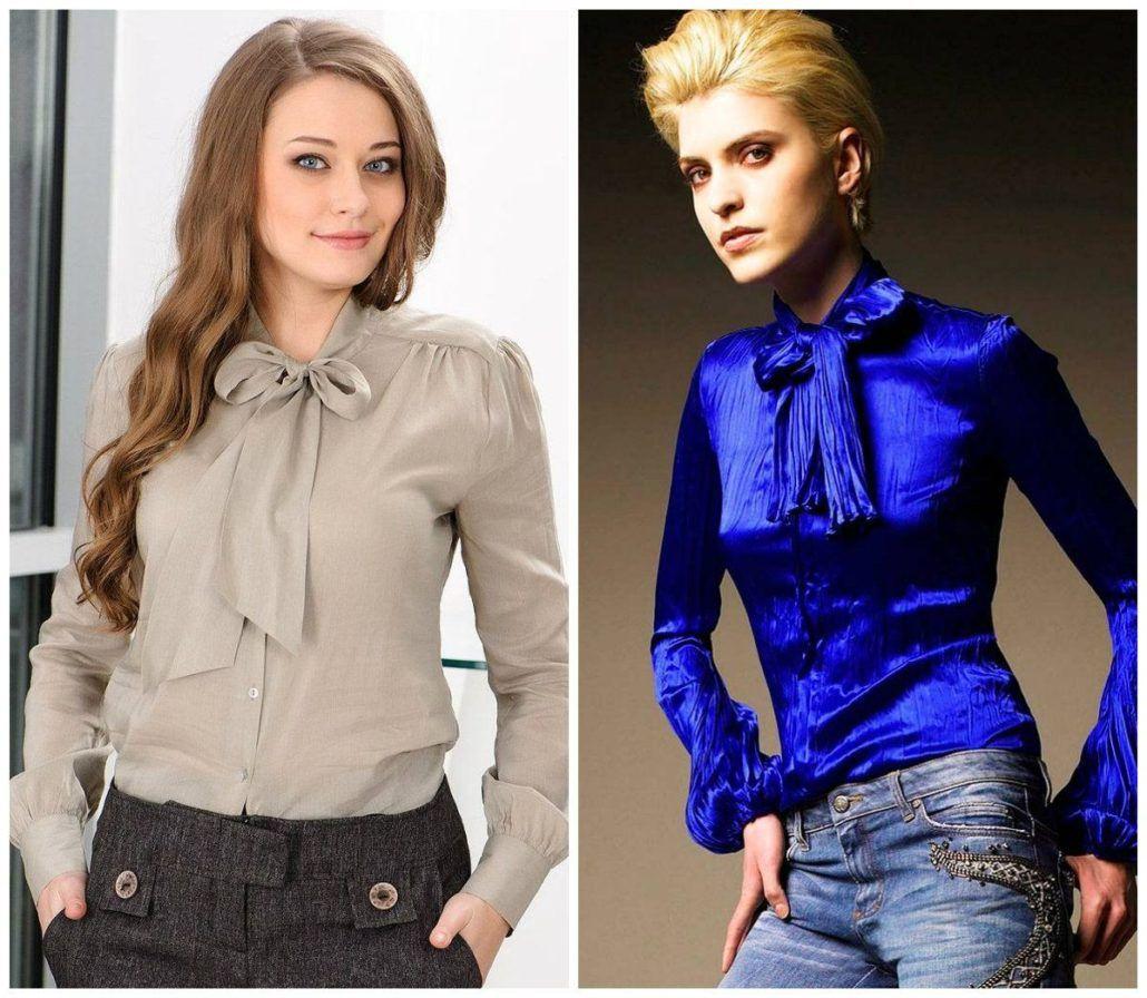 Модные блузки с классическим бантом осень-зима 2018-2019
