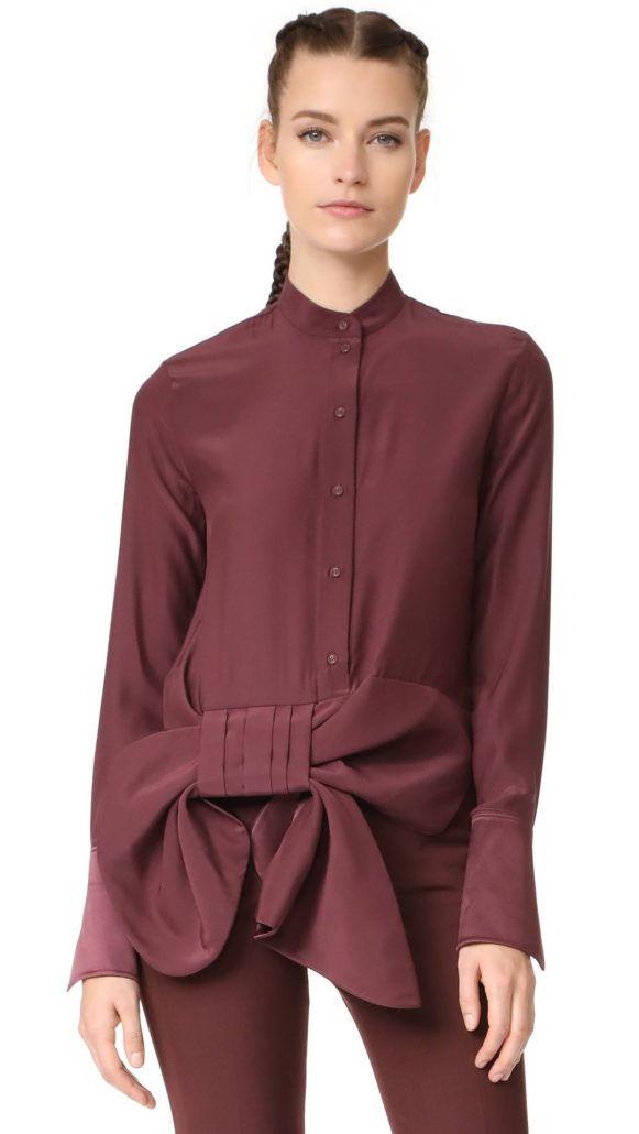 Модная блузка с бантом-завязкой осень-зима 2018-2019