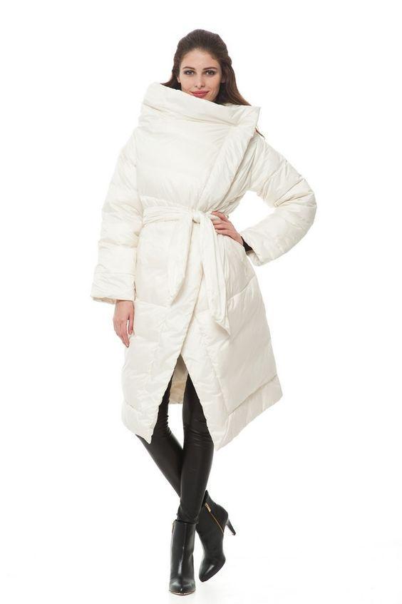 Модный объемный белый пуховик осень-зима 2019-2020