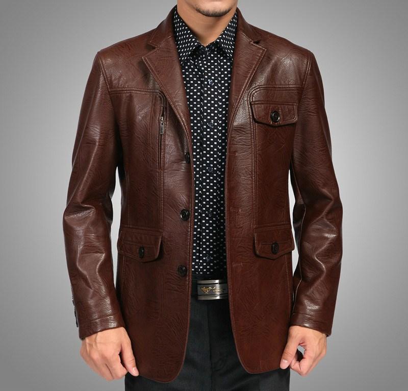 Коричневый кожаный пиджак