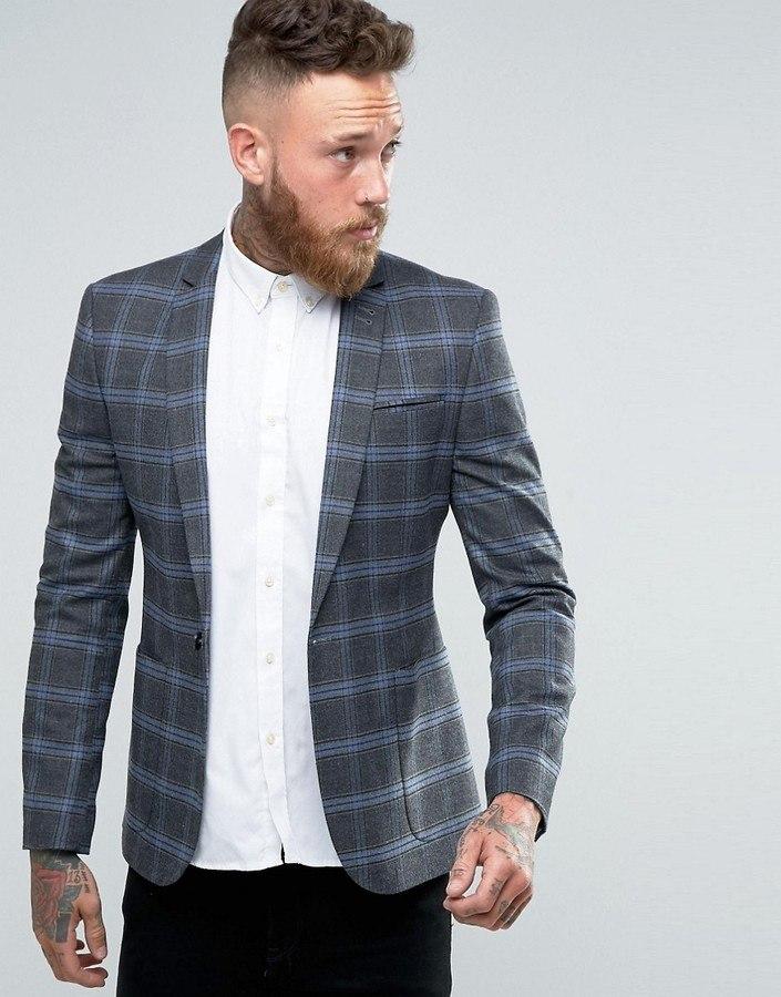 Серый пиджак с клеткой