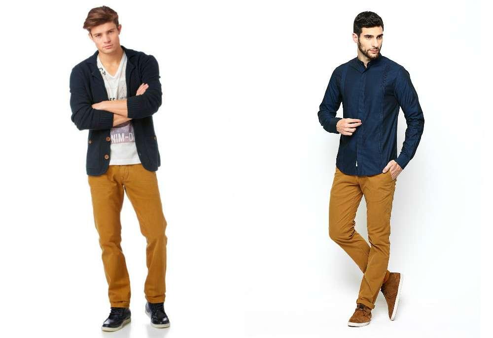 Желтые вельветовые мужские брюки