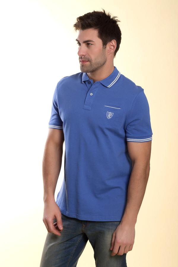 Голубая мужская футболка поло