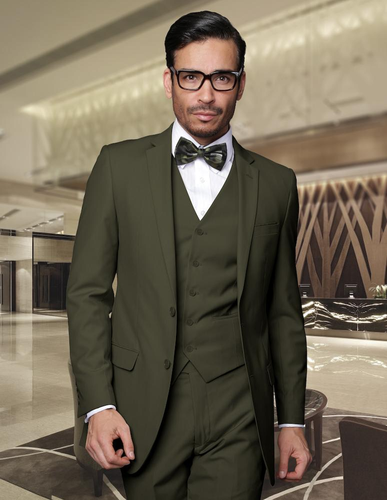 Серо-зеленый пиджак-двойка
