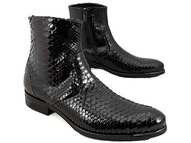 Мужские ботинки с имитацией кожи рептилий