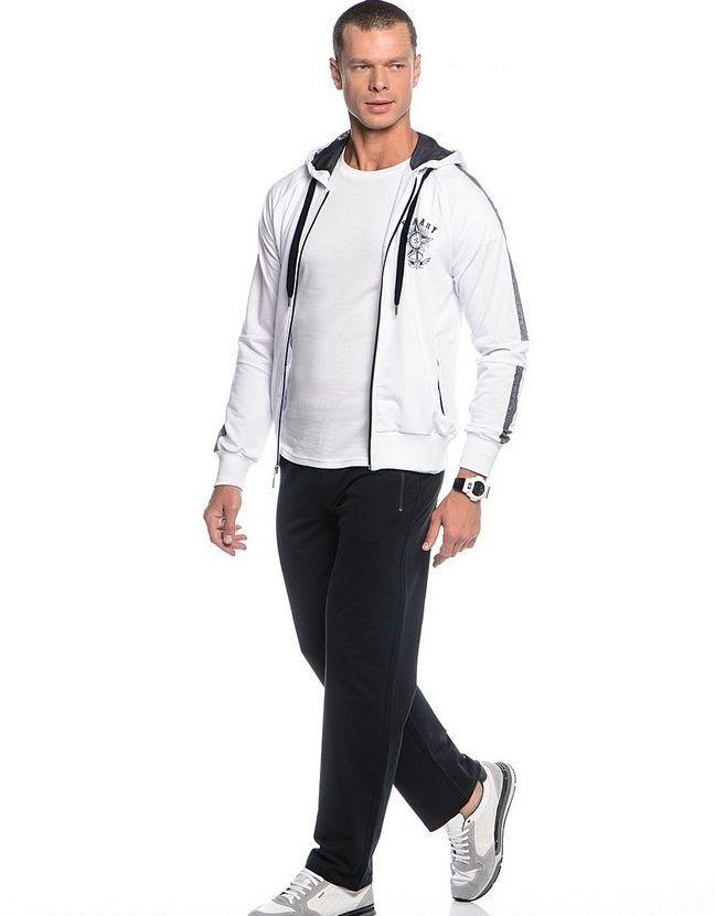 Комбинированный белый с черным спортивный костюм