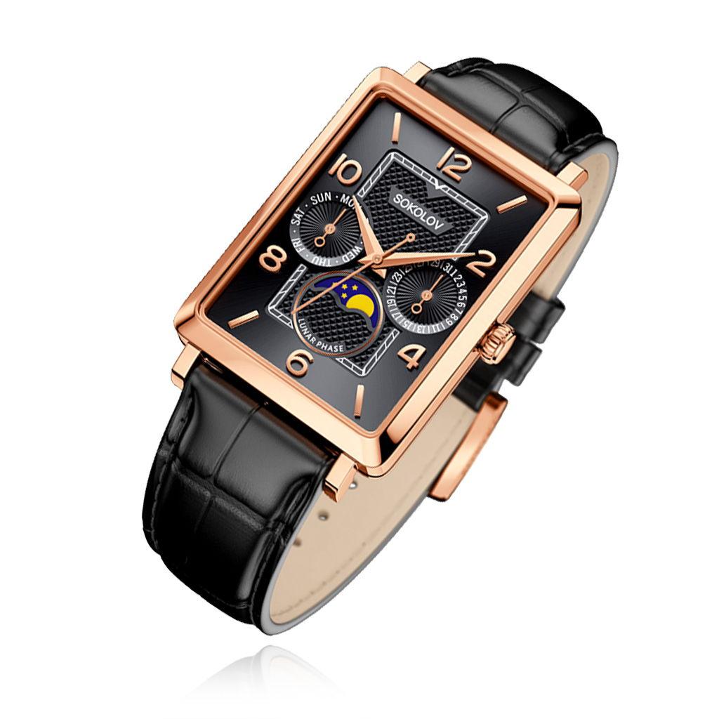 Квадратные часы для мужчин из золота