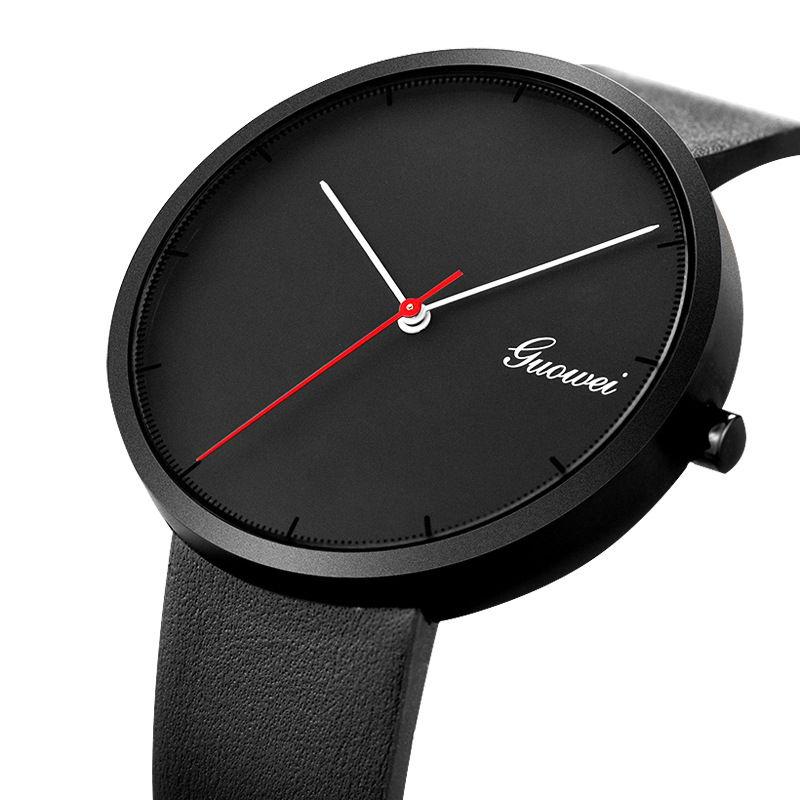 Черные мужские часы в стиле минимализм