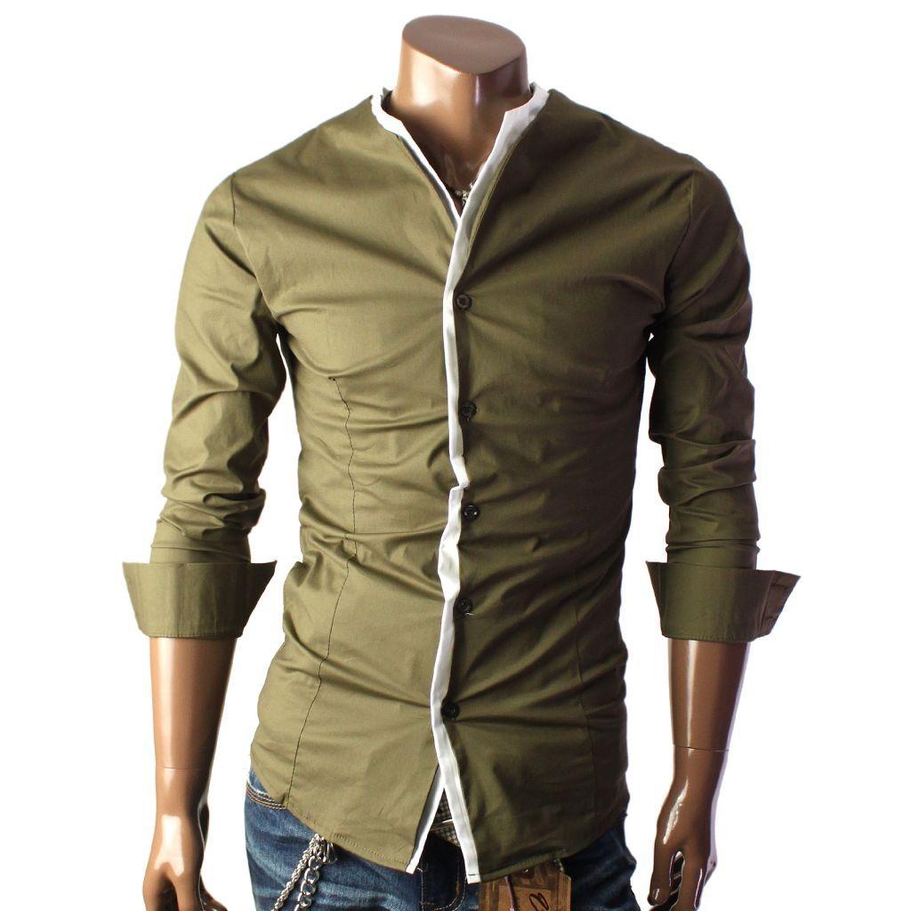 Рубашка цвета хаки без воротника