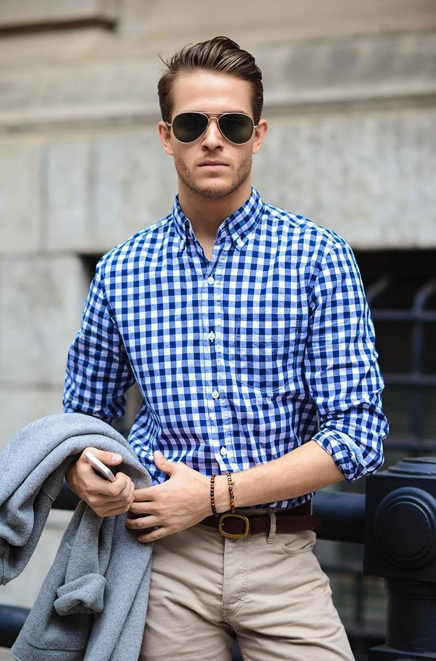 Рубашка в синюю клетку с воротом