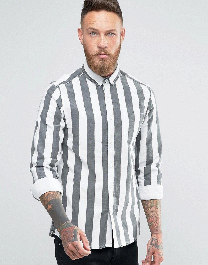 Белая рубашка в серую полоску