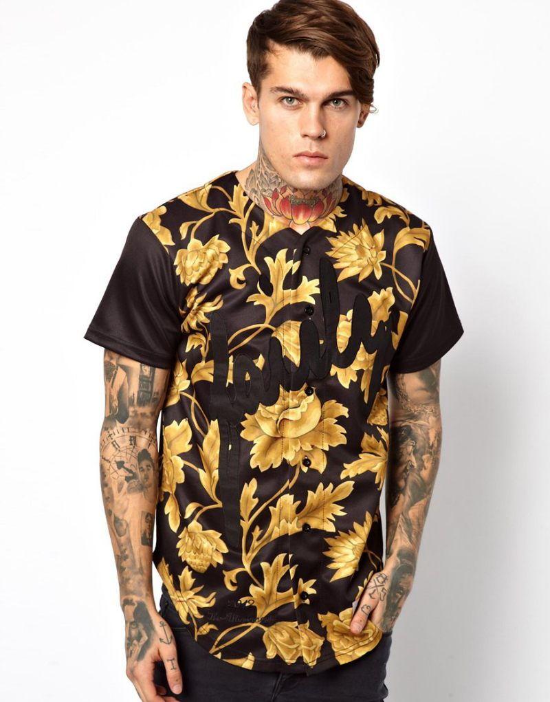 Рубашка мужская с желтым принтом