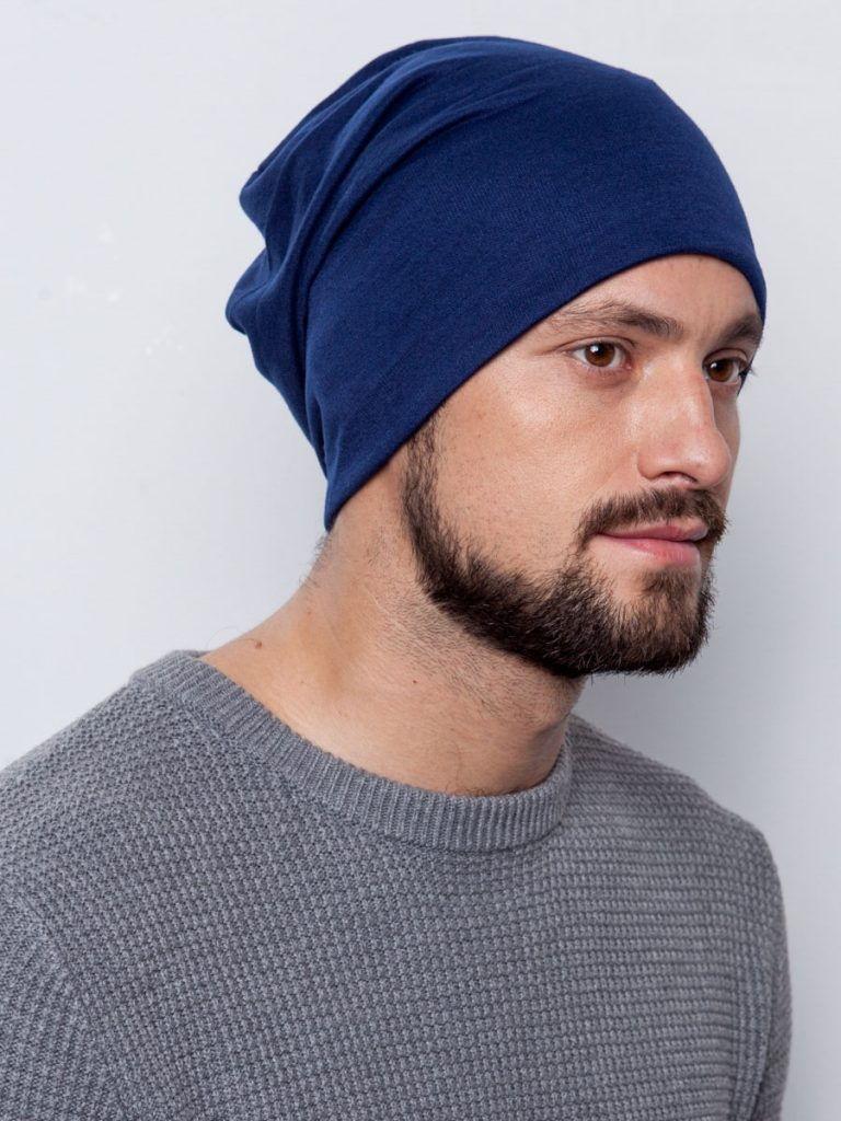 Мужская синяя шапка