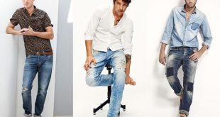 Мужские потертые джинсы