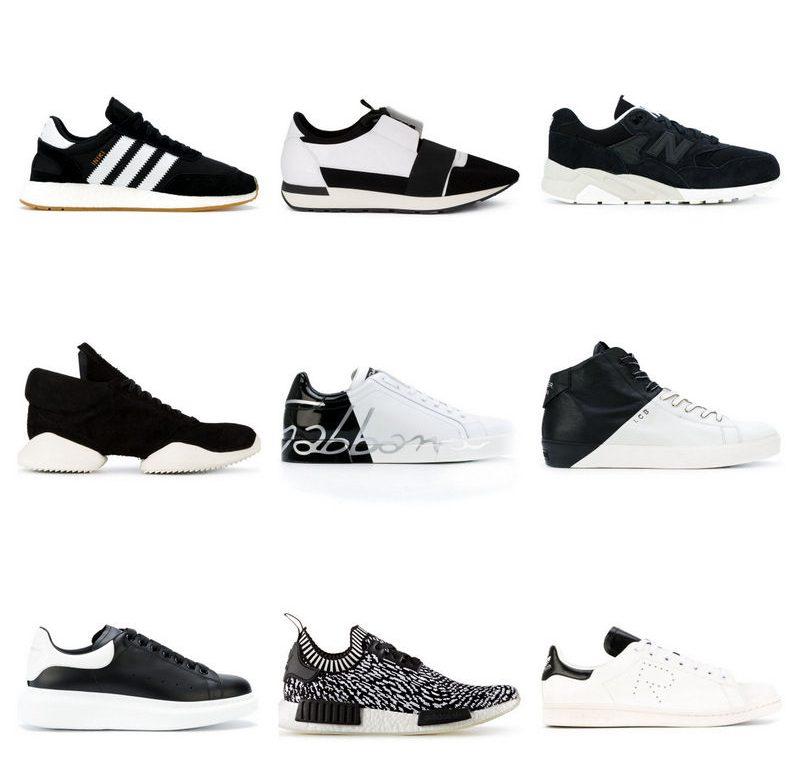 Черно-белые кеды и кроссовки