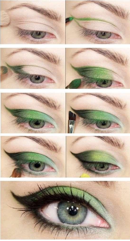 """Техника нанесения макияжа """"Листок"""" для зеленых глаз"""