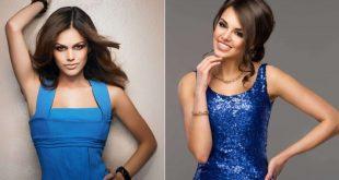 Роскошное синие платье и макияж шатенки