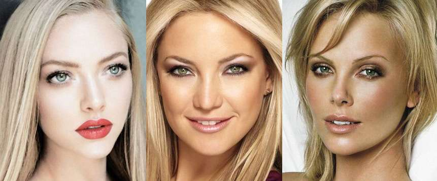 Неброский макияж для зеленоглазой блондинки