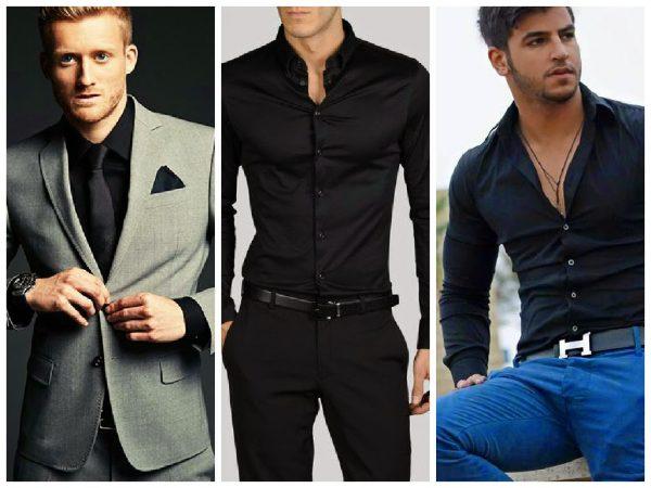 Модные  черные мужские рубашки весна-лето 2019