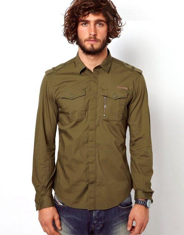 Модные мужские рубашки в стиле милитари весна-лето 2019
