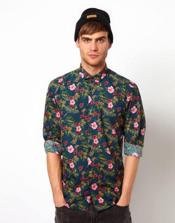 рубашка с цветным принтом