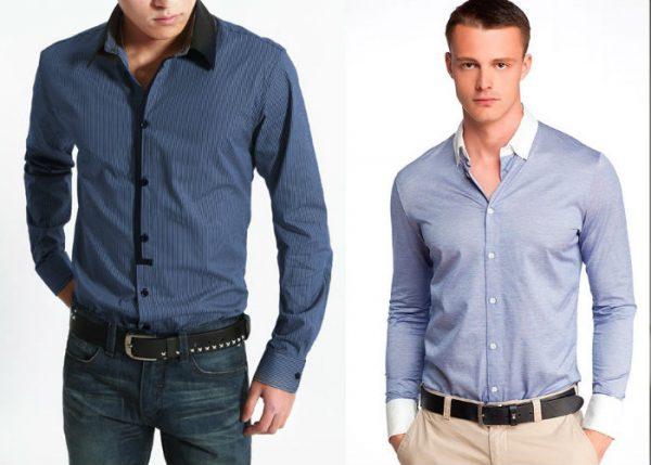 Модные голубые мужские рубашки весна-лето 2019